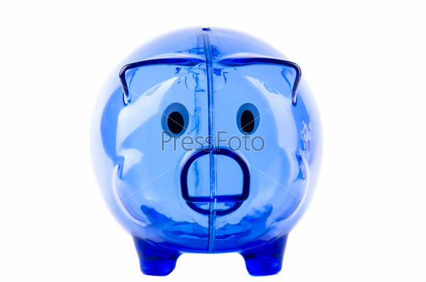 Empty glass piggy bank