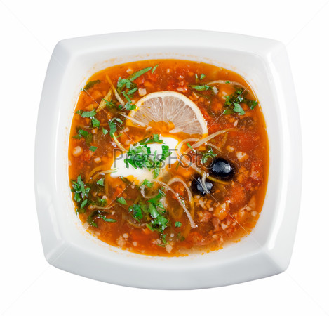 thick soup of vegetables and meat - solanka