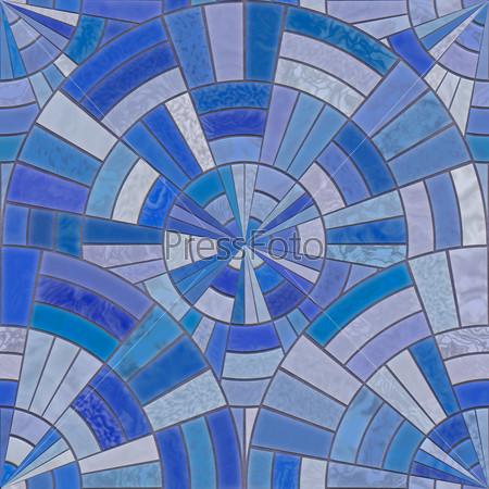 Blue circular tiles