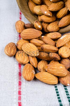 Almonds on a cloth