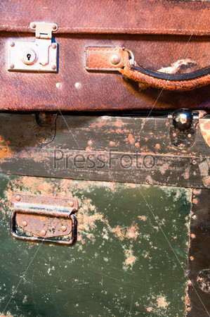 Old worn suitcases