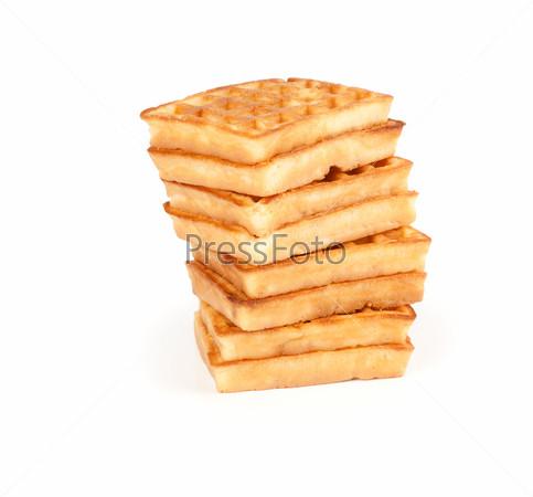 Sweet waffles isolated on white