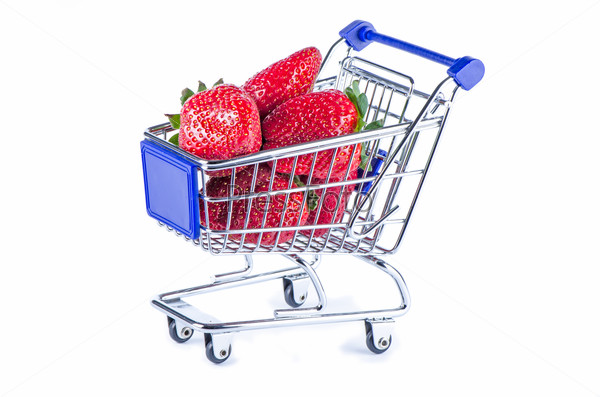 Shopping cart with strawberries