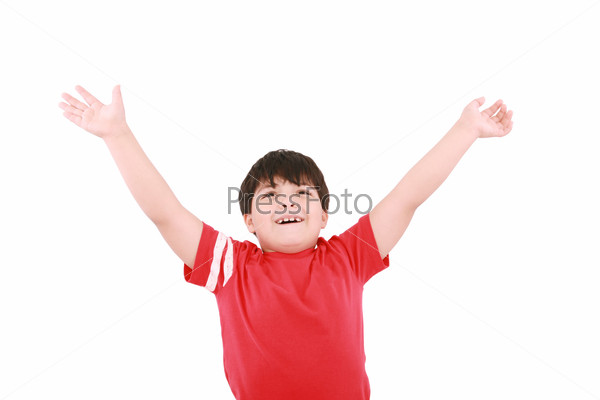young casual little boy with open arms and looking up, isolated