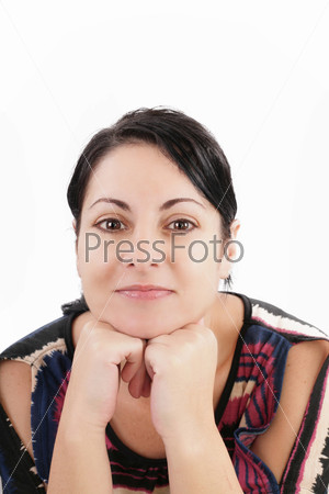 woman looking at camera over white background