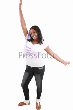Portrait of a young beautiful black teenager excited