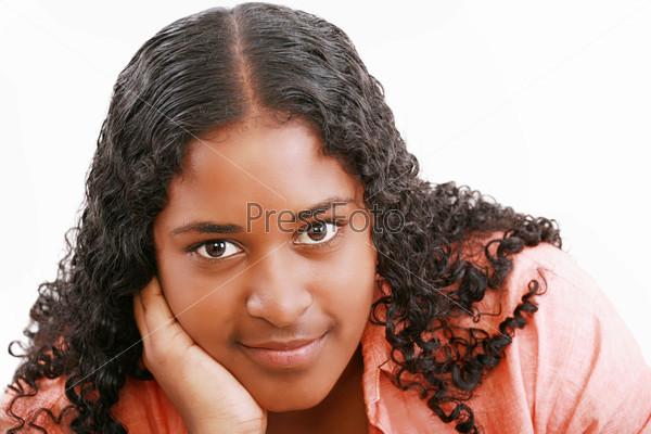 Isolated portrait of beautiful black teenage girl