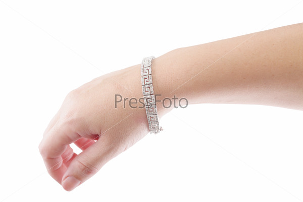 female hand with jewelry isolated on white background
