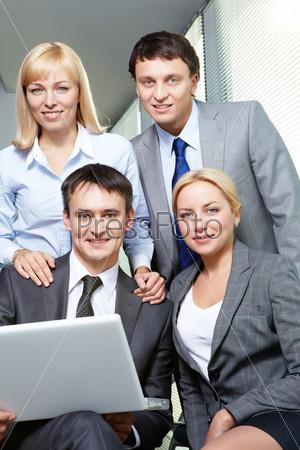 A confident business team