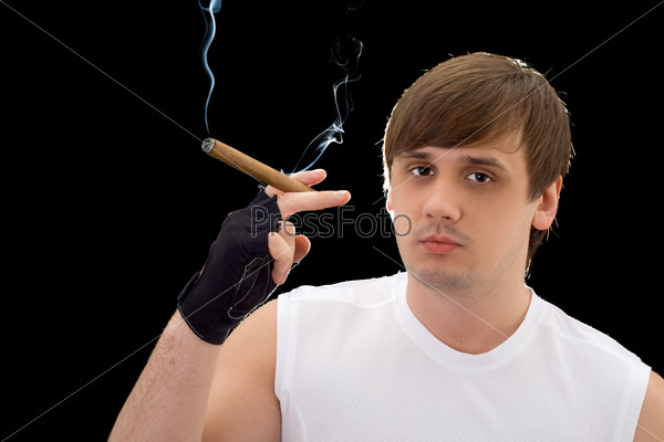 Portrait of the young man with cigar. Isolated