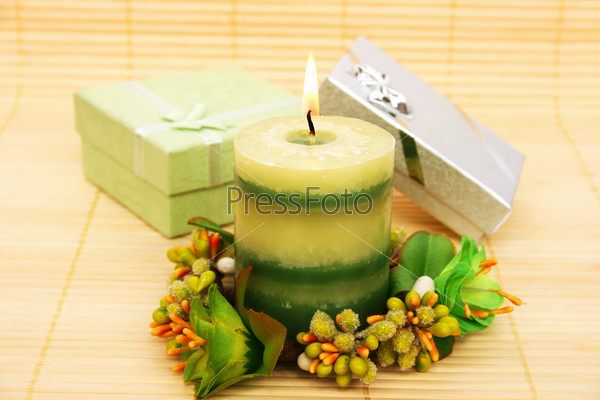 Candle and present boxes
