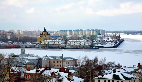 Port on confluence two rivers Nizhny Novgorod
