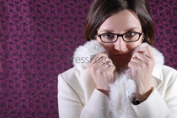 portrait of a beautiful brunett  wearing winter coat