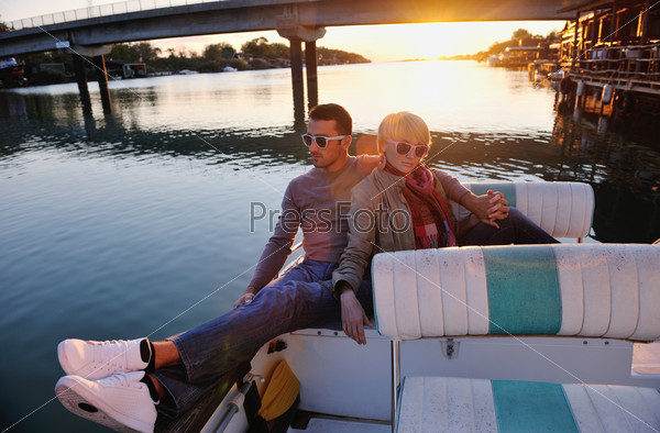 couple in love  have romantic time on boat