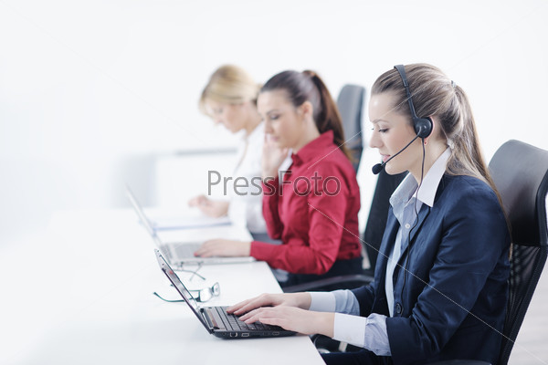 business woman group with headphones