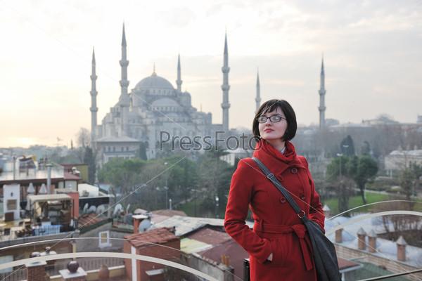 woman visit ancient istambul in turkey