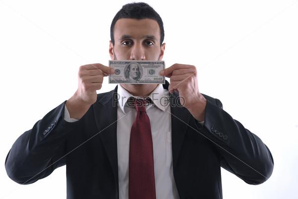 Business man holding money