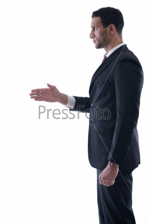 business man giving you a hand shake