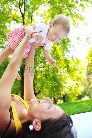 woman and baby have playing at park