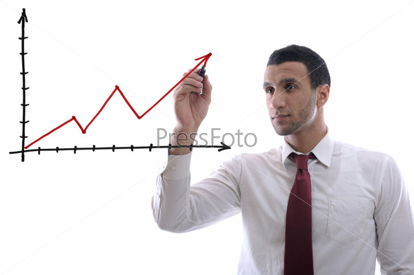 business man draw line chart