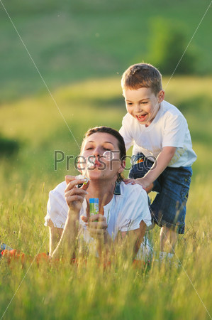 woman child bubble