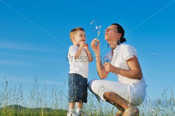 woman child bubble