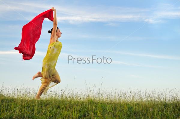 woman meadow scarf