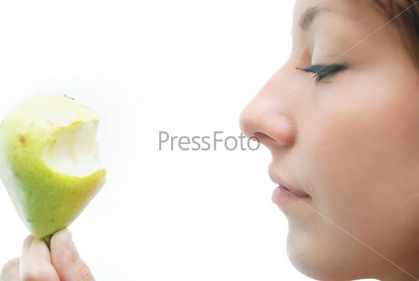 beautiful girl with pear