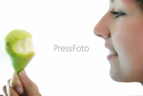 beautiful girl with pear