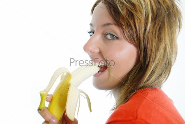 pretty girl with an banana