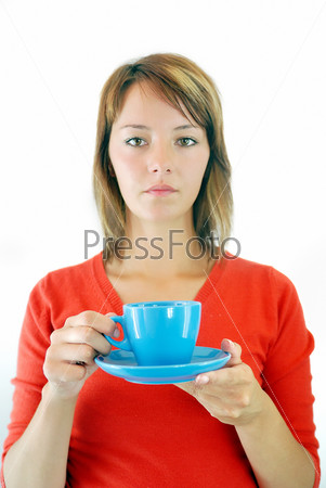 girl with blue coffe cup