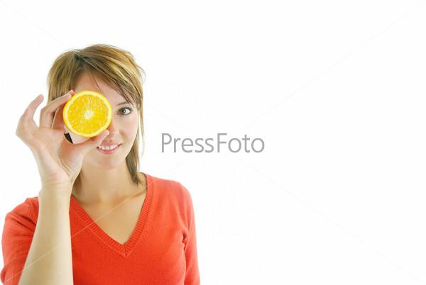 pretty girl with orange