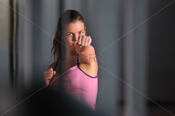 young fighter woman