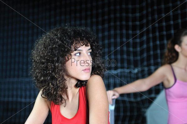 young woman rerlaxing fitness and working out