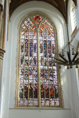 Stained glass in the church. Netherlands, Delft