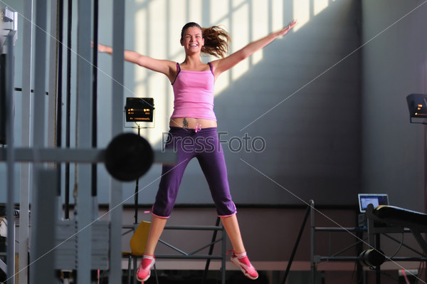 one young happy  woman jump