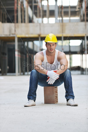 hard worker on construction site