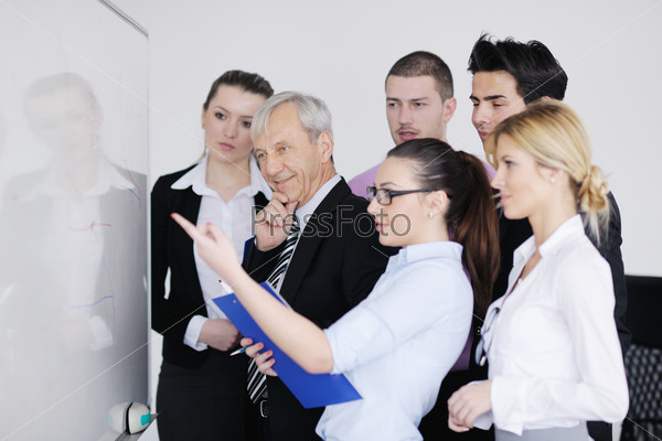 Senior business man giving a presentation