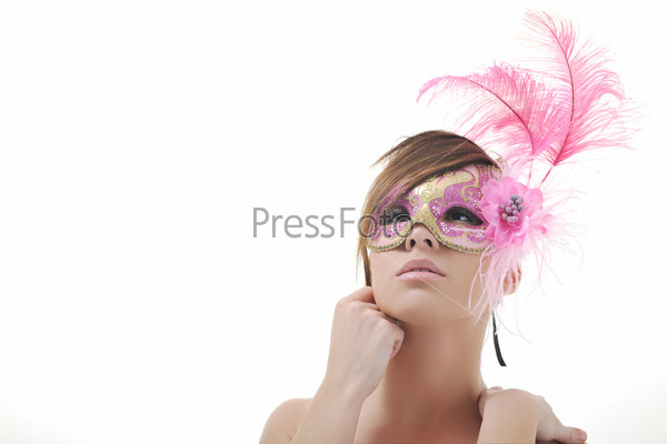 woman with mask isolated on white