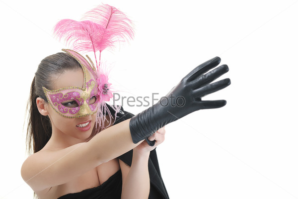 woman with glove