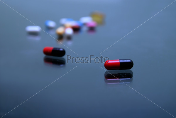 pills on glosy surface