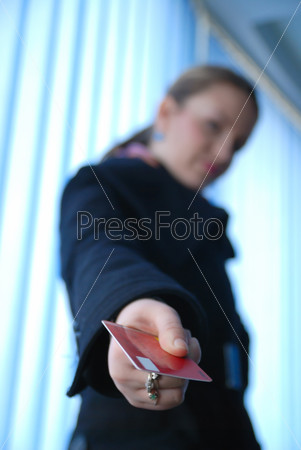 .businesswoman holding credit card