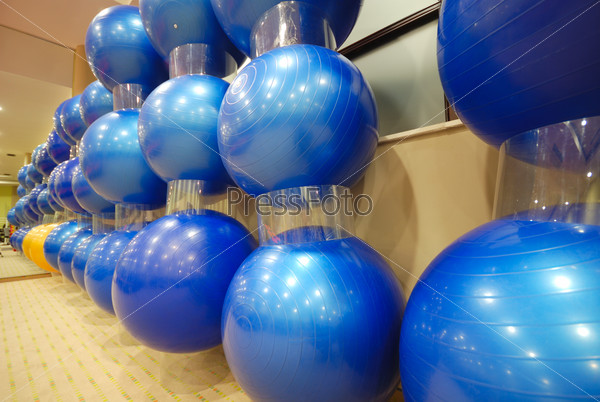 pilates balls in fitness club