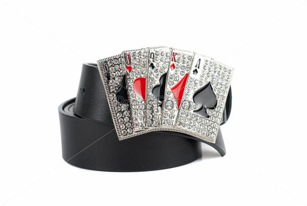 Men's leather cards belt