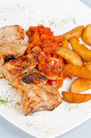 Grilled kebab pork meat