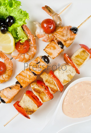 grilled salmon and shrimps