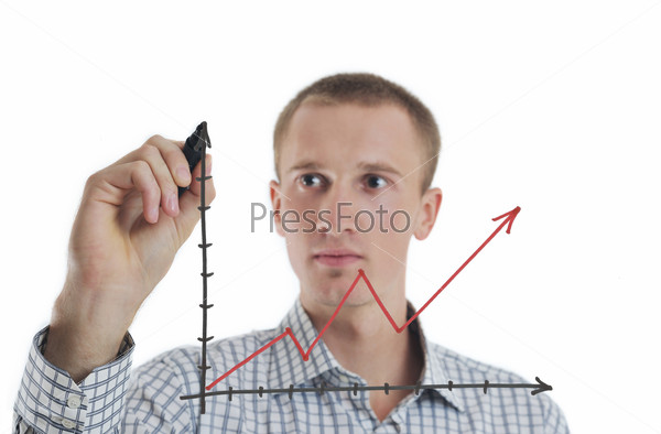 business man draw line chart
