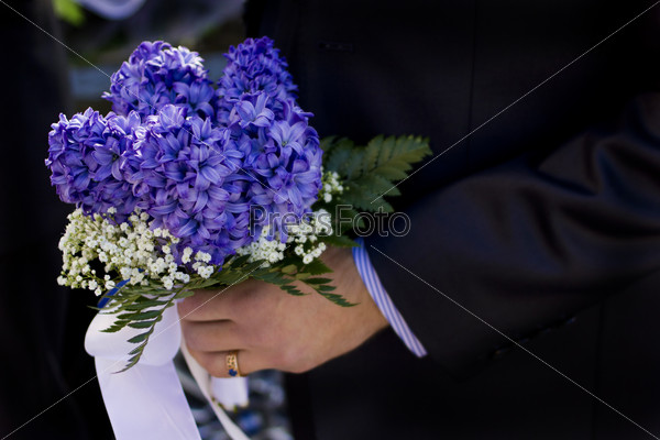 Man hold flowers