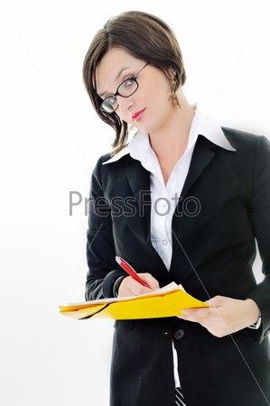 business woman hold papers and folder