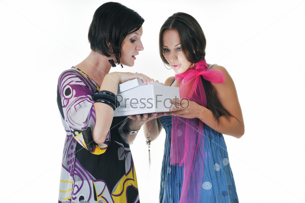 two woman isolated on white with gift